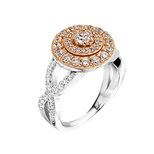 Elegant Two-tone Halo Diamond Infinity Engagement Proposal Ring