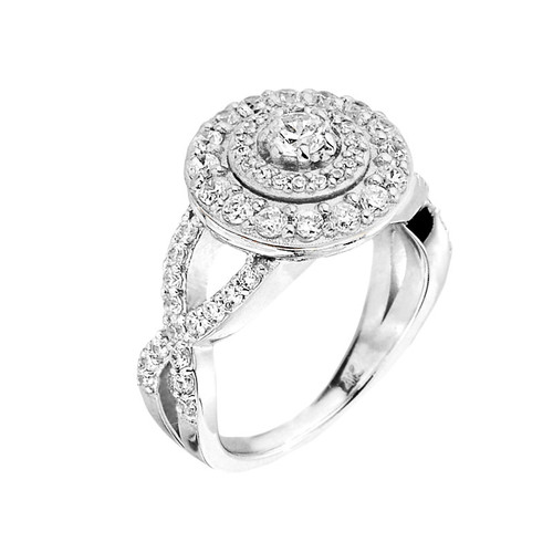 Elegant White Gold Halo Diamond Infinity Engagement Proposal Ring