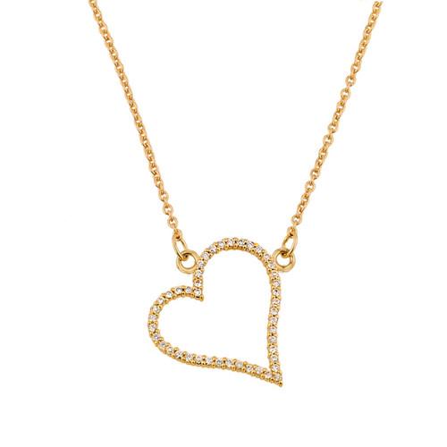 14K Gold Diamonds Studded Heart Necklace