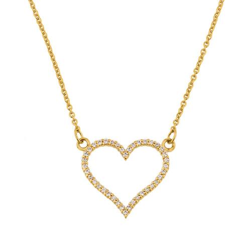14K Gold Diamonds Studded Open Heart Necklace