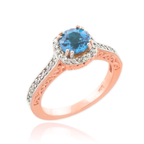 Aquamarine Rose Gold Halo Diamond Pave Engagement Ring