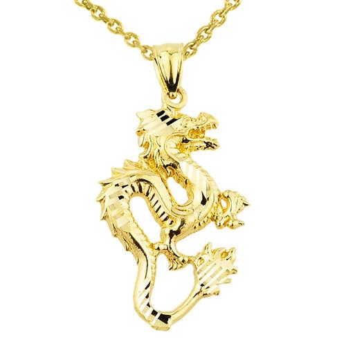 Yellow Gold Diamond Cut Dragon Charm Pendant Necklace