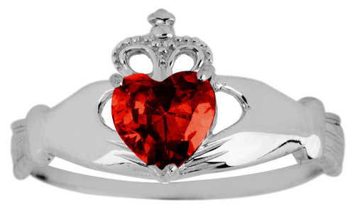 Silver Birthstone Claddagh Ring with Garnet