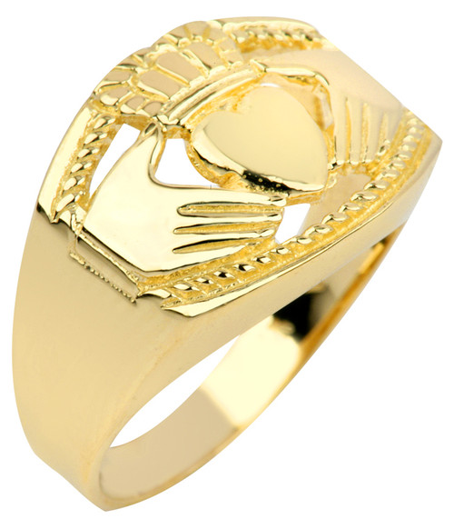 Gold Claddagh Ring Mens Bold