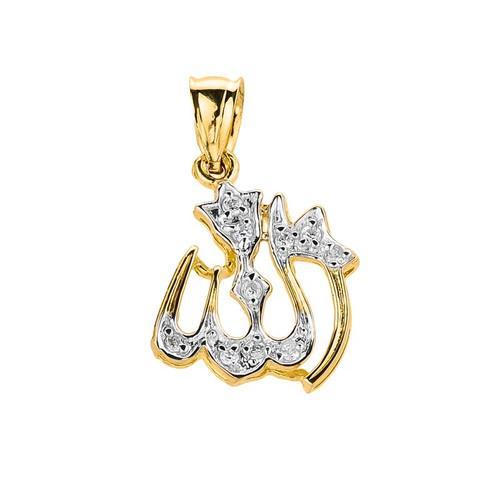 Gold Diamonds Studded Allah Pendant