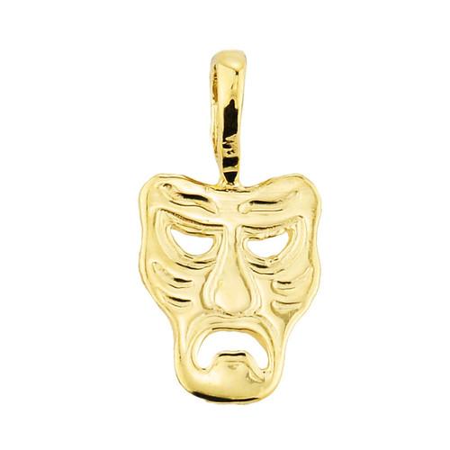 Yellow Gold Tragedy Mask Pendant