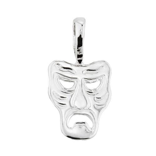 White Gold Tragedy Mask Pendant