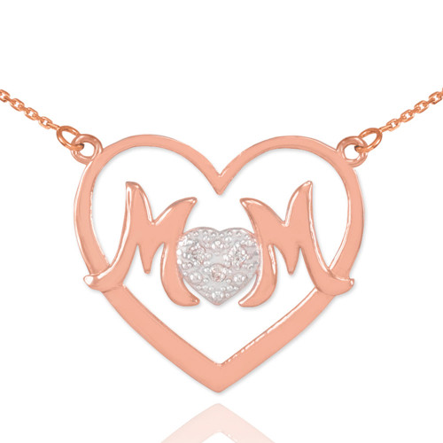 """14K Rose Gold Diamond Pave Heart """"MOM"""" Necklace"""