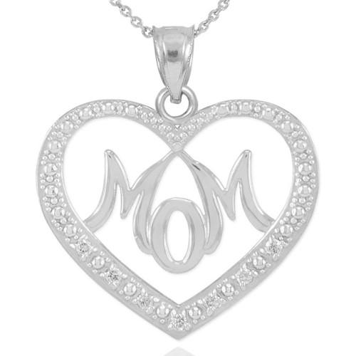 "14K White Gold Diamond Studded ""Mom"" Heart Pendant Necklace"