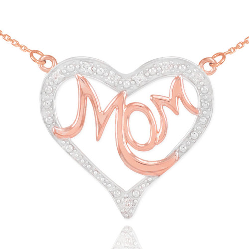 """14K Two-Tone Rose Gold Diamond Studded """"Mom"""" Heart Necklace"""