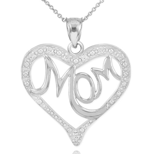 "14K White Gold Diamond Studded Heart  ""Mom"" Pendant Necklace"