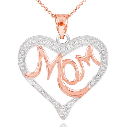 """14K Two-Tone Rose Gold Diamond Studded """"Mom"""" Heart Pendant Necklace"""
