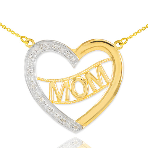"14K Two-Tone Gold Diamond Half Studded ""Mom"" Heart Necklace"