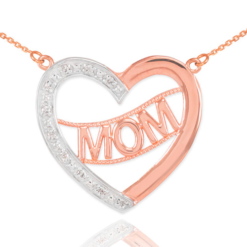 """14K Two-Tone Rose Gold Diamond Half Studded """"Mom"""" Heart Necklace"""