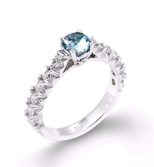 14k Aquamarine Diamond Engagement Ring