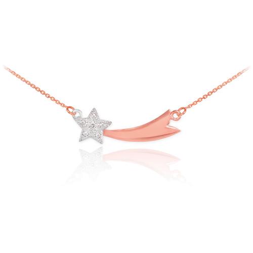 14K Rose Gold Diamond Studded Shooting Star Necklace