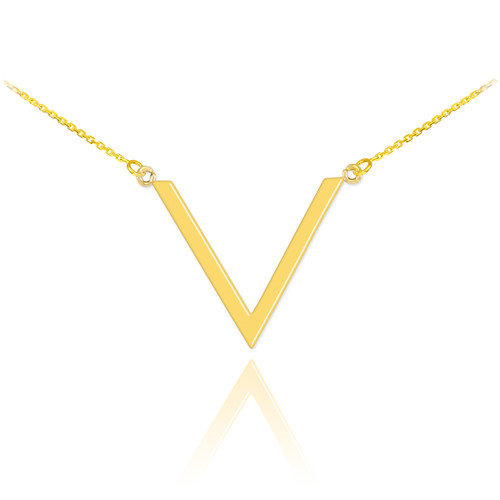 14K Polished Gold V Necklace