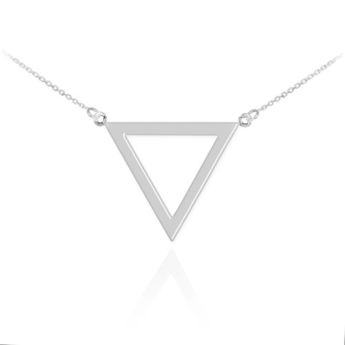 14K Polished White Gold Triangle Necklace