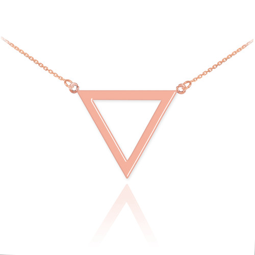 14K Polished Rose Gold Triangle Necklace