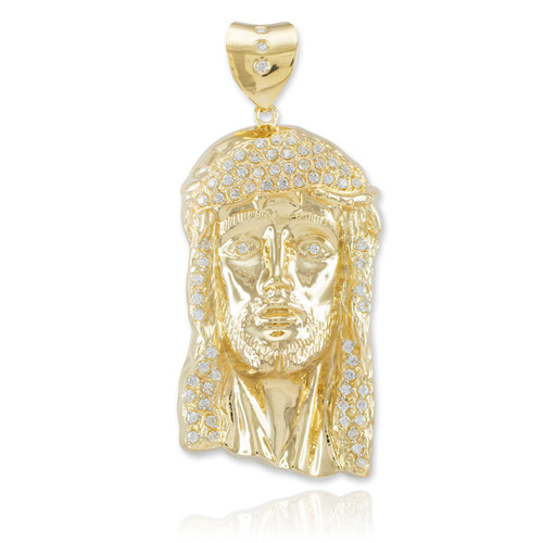 Iced Gold Jesus Face Men's Large CZ Pendant