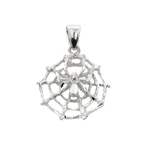 White Gold Spider Web Charm Pendant
