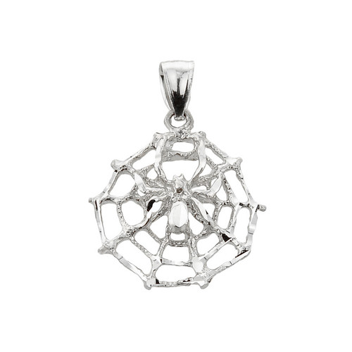 Sterling Silver Spider Web Charm Pendant