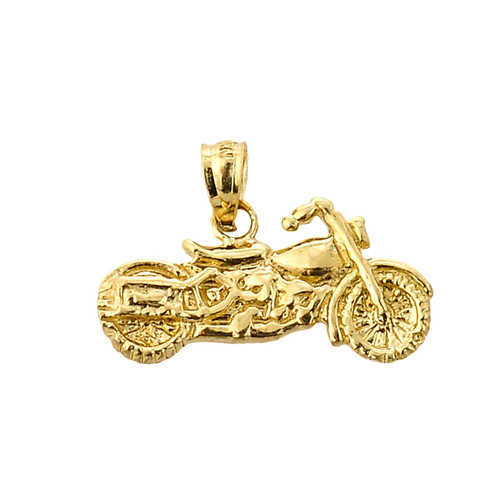 Gold Motorcycle Charm Pendant