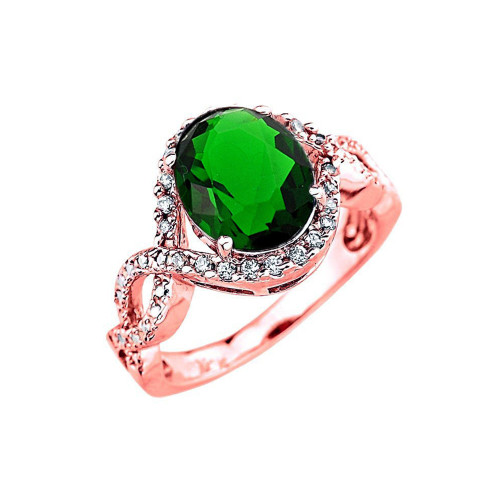 Rose Gold (LCE) Emerald and Diamond Infinity Engagement Ring