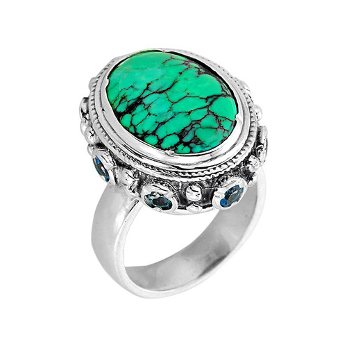 Sterling Silver Turquoise and Blue Topaz Ladies Ring