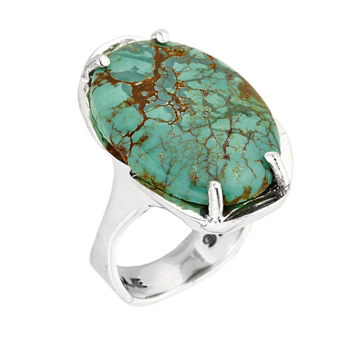 Sterling Silver Prong Set Large Turquoise Gemstone Ring