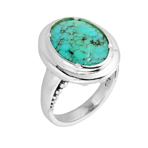 Sterling Silver Turquoise Gemstone Ladies Ring