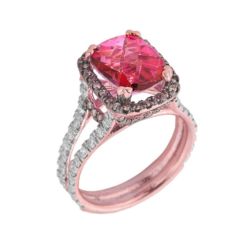 14k Rose Gold Pink Topaz and Diamond Engagement Ring