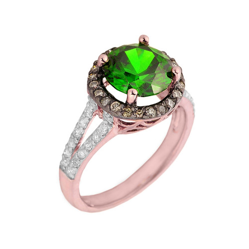 14k Rose Gold Diamond Engagement Ring with (LCE) Emerald