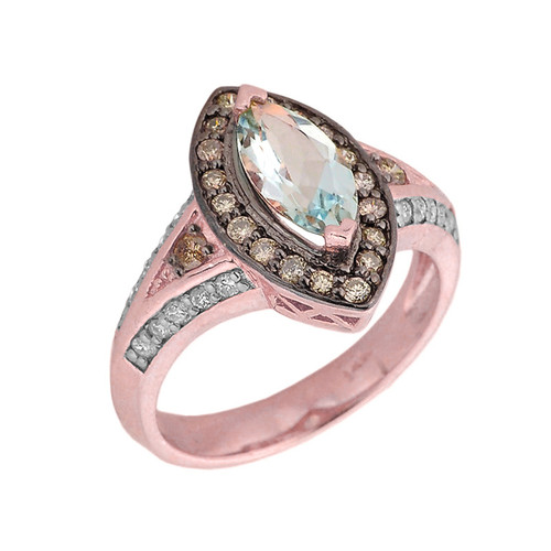 14k Rose Gold Aquamarine and Diamond Engagement Ring