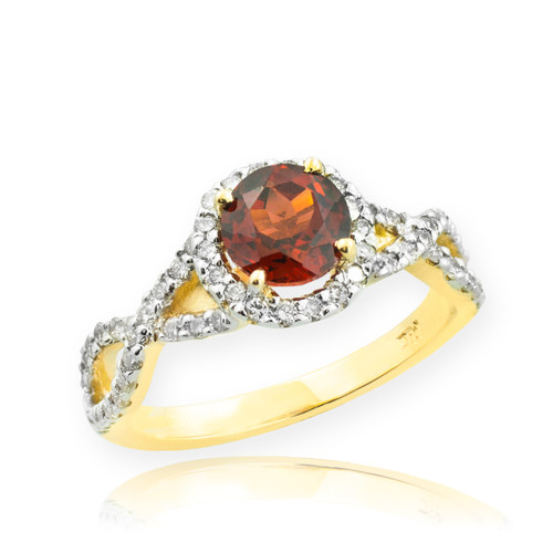 Gold Garnet Birthstone Infinity Ring with Diamonds