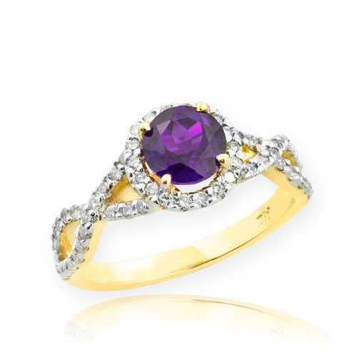 Gold Amethyst Birthstone Infinity Ring with Diamonds