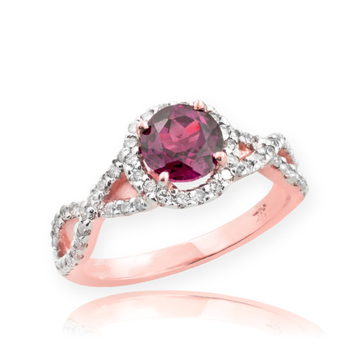 Rose Gold Alexandrite Birthstone Infinity Ring with Diamonds