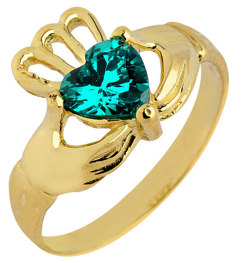 Gold Claddagh Baby Ring with Emerald