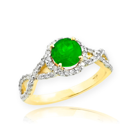 Gold Emerald Infinity Ring with Diamonds