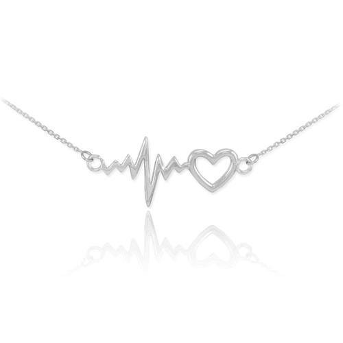 Heartbeat Necklace - 14k White Gold
