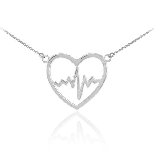 14k White Gold Heartbeat Pulse Necklace