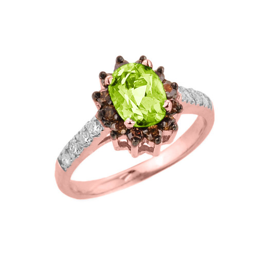 14k Rose Gold Peridot and Diamond Ladies Ring