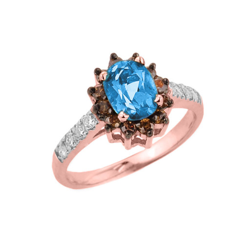 14k Rose Gold Blue Topaz and Diamond Ladies Ring