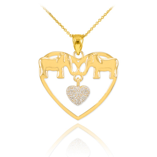 Gold Elephant and Heart Pendant Necklace with Diamonds
