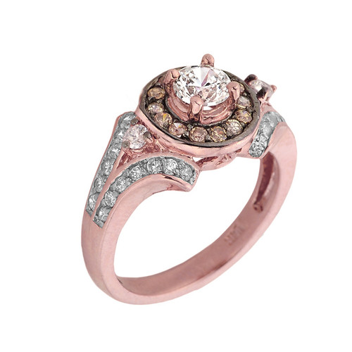 14k Rose Gold Diamond Proposal Ladies Ring