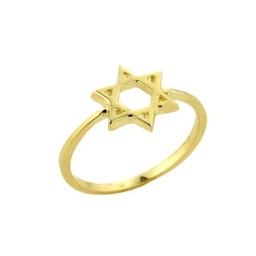 Gold Jewish Star of David Ring