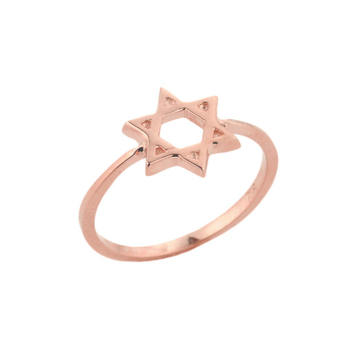 Rose Gold Jewish Star of David Ring