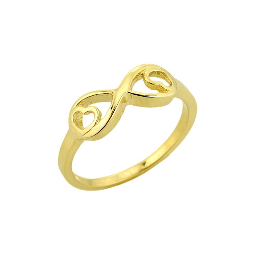 Gold Infinity with Double Heart Ring