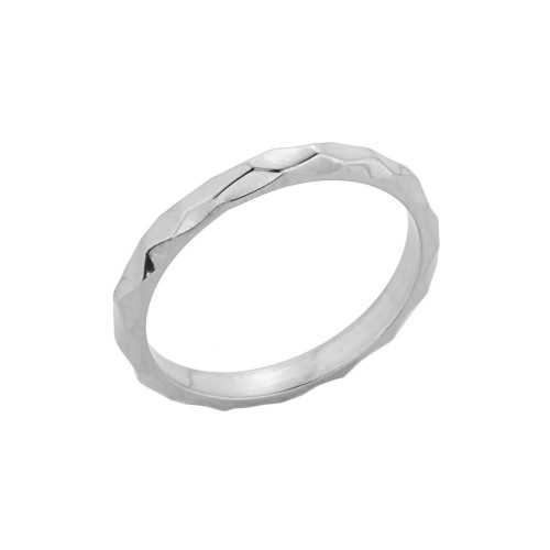 White Gold Textured Spike Stackable Ring