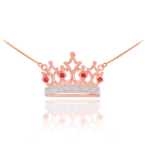 14k Rose Gold Ruby Crown Necklace with Diamonds